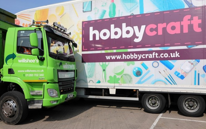 two branded lorries