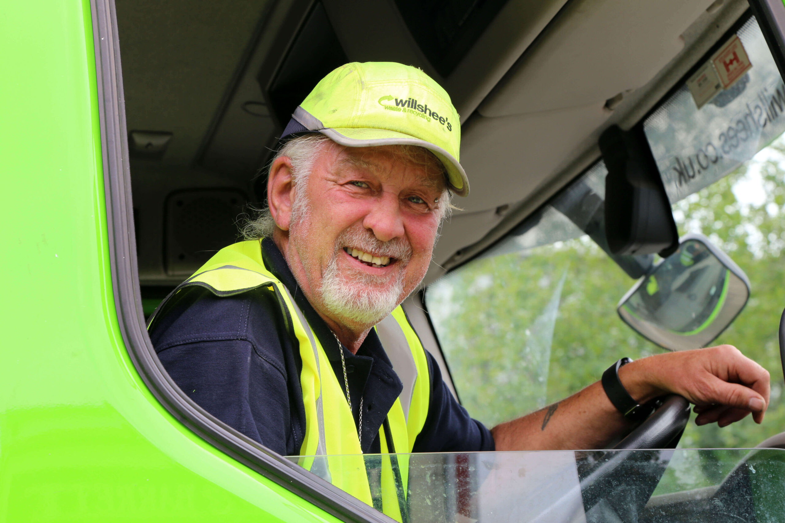 Willshee's lorry driver Paul Eames in his cab