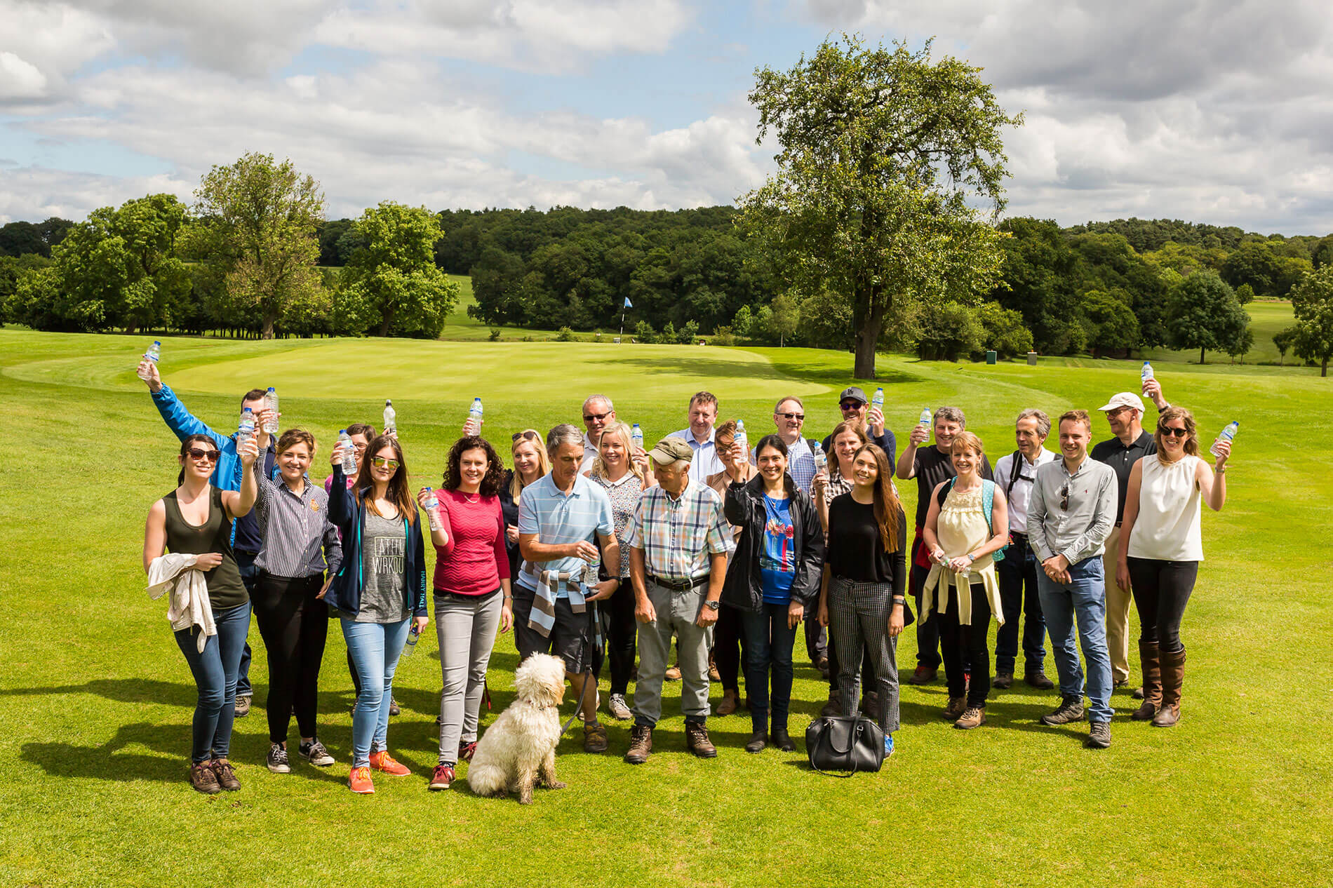 Crowd of business owners walking in the countryside hosted by Smith Partnership Solicitors